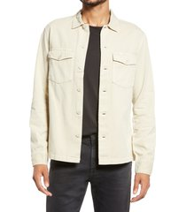 allsaints spotter button-up shirt jacket, size large in cloudy taupe at nordstrom