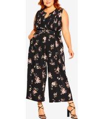 city chic plus size imperial floral jumpsuit