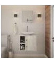 conjunto para banheiro gabinete com cuba folha l38 e espelheira soft 500 branco com snow