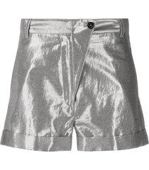 ann demeulemeester high rise metallic shorts - silver