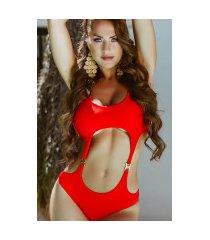 sexy monokini met goud-details rood