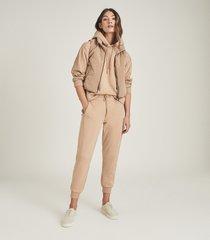 reiss arden - loungewear hoodie with zip detail in camel, womens, size l
