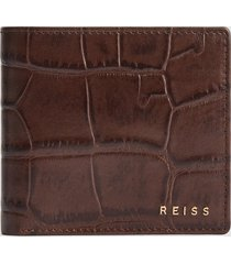 reiss benson - leather croc embossed wallet in chocolate, mens