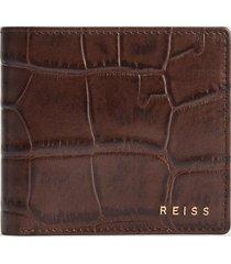 reiss benson - leather croc embossed wallet in chocolate, mens