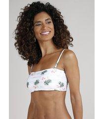 biquíni top faixa feminino canelado com alças bojo removível com proteção uv50+ off white