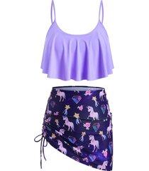 flounces unicorn cinched three piece plus size tankini swimsuit