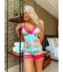 short doll ãgua viva lingerie tie dye - multicolorido - feminino - dafiti