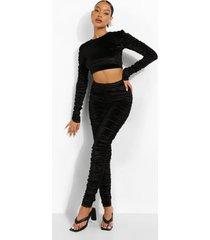 geplooide velours crop top en leggings, black
