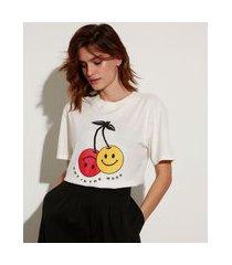 "t-shirt de algodão not in the mood"" manga curta decote redondo mindset off white"""