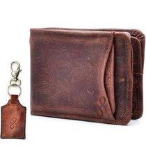 kit carteira com porta-cartão e chaveiro hendy bag em couro masculino