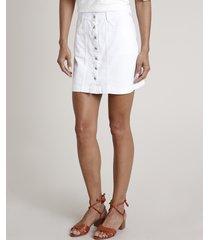 saia de sarja feminina curta com botões branca