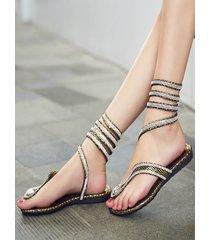 gliter snakeskin pinch punta redonda sandalias