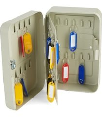 mind reader secure steel key box with lock and hooks, gray