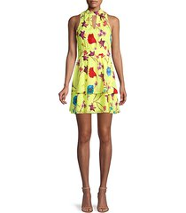 floral-print fit-&-flare tiered dress