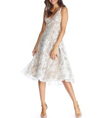 women's dress the population elisa lace fit & flare dress