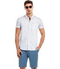 camisa manga corta florencia blanco/celeste new man
