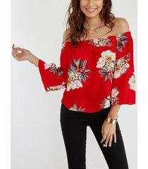 blusa con mangas con estampado floral al azar rojo 3/4 longitud mangas