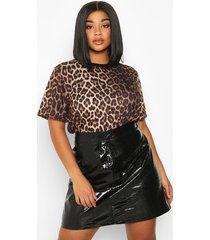 plus leopard print ringer t-shirt, brown