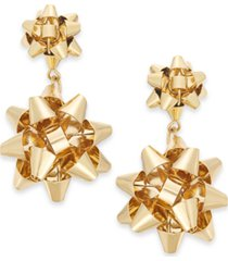 holiday lane gold-tone bow drop earrings, created for macy's