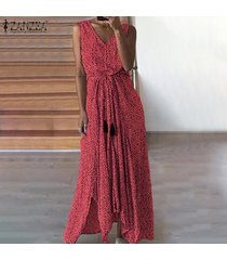 zanzea vestido de playa con estampado de lunares para mujer sin mangas vestidos de fiesta con cordones -rojo