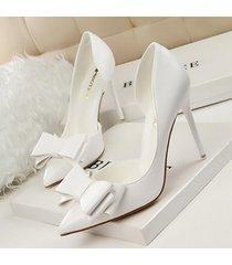 pp256 elegant bowtie pointy pump, pu leather us size 4-8, white