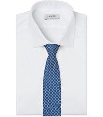 cravatta su misura, lanieri, padova seta blu giallo, quattro stagioni | lanieri