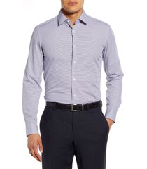 men's boss isko slim fit geometric dress shirt, size 17 - red