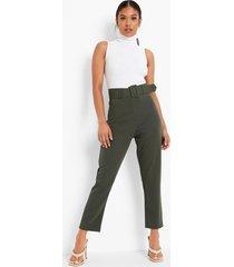 petite toelopende broek met brede riem met gesp, khaki