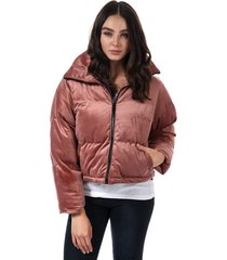 brave soul womens velvet cropped padded jacket size 16 in pink
