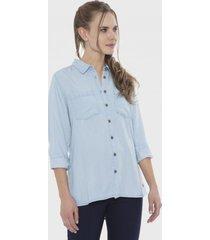 blusa mezclilla bolsillos básica celeste curvi