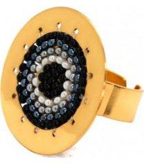 anillo imperial baño oro tejido negro/perlas bijulovers