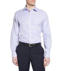 men's big & tall david donahue luxury non-iron trim fit check dress shirt, size 17 - 36/37 - purple