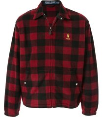 palace x polo ralph lauren polar fleece harrington jacket - red