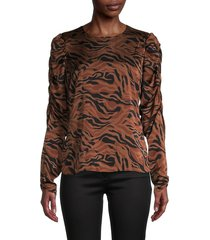 t tahari women's printed puff-sleeve top - print - size l