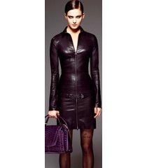 women celeb style haute couture premium cocktail party women leather dress-gn22