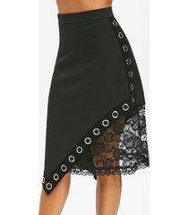gothic asymmetric grommets lace insert skirt