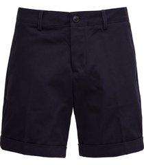 ami alexandre mattiussi blue cotton chino bermuda shorts