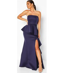 bandeau peplum ruffle detail maxi dress, navy