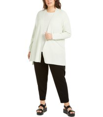 eileen fisher plus size long open-front cardigan