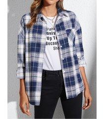 yoins blusa de manga larga con cuello a cuadros azul oscuro classic
