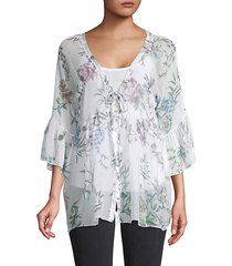 floral empire silk cardigan