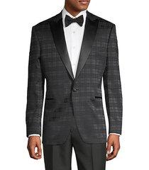 plaid cotton-blend tuxedo jacket