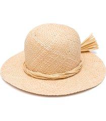 il gufo wide-brim straw sun hat - neutrals