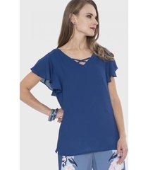 blusa manga corta con vuelos en manga azul lorenzo di pontti