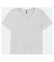 blusa de pijama lisa em viscolycra com detalhes | lov | cinza | gg