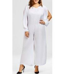 stylish v-neck long sleeve plus size cut out women's jumpsuit