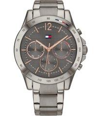 tommy hilfiger women's gunmetal-tone stainless steel bracelet watch 38mm