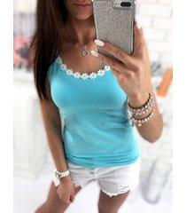 light blue scoop neck crochet lace trim cami top