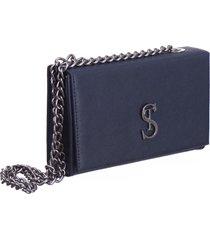 bolsa clutch pequena de lado selten azul marinho - azul marinho - feminino - dafiti