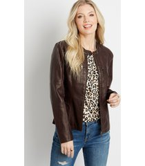maurices womens quilted faux leather jacket red